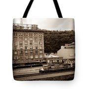 Train Passes Station Square Pittsburgh Antique Look Tote Bag