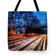 Train Station First Snow Tote Bag
