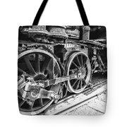 Train - Steam Engine Wheels - Black And White Tote Bag
