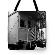 Train - The Caboose - Black And White Tote Bag by Paul Ward