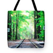 Train Tracks In Forest Tote Bag