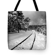 Train Tracks In The Snow Tote Bag