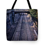 Train Tracks Into Town Tote Bag
