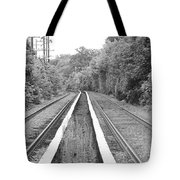 Train Tracks Running Through The Forest Tote Bag