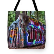 Train Wreck Art In The Forest Tote Bag