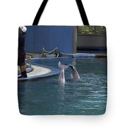 Trainer And 2 Dolphins At The Underwater World In Sentosa Tote Bag