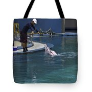 Trainer Feeding Duo Of Dolphins At The Underwater World In Sentosa Tote Bag
