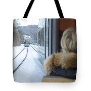 Tram In Winter Tote Bag