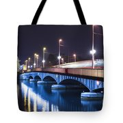 Tram Over A Bridge Tote Bag