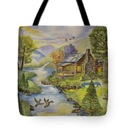 Tranquil Log Cabin Tote Bag