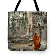 Tranquility In Angkor Wat Cambodia Tote Bag by Bob Christopher