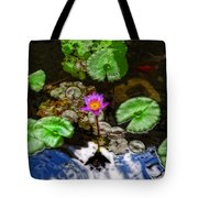 Tranquility - Lotus Flower Koi Pond By Sharon Cummings Tote Bag