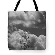 Transmission Tower In Storm Tote Bag