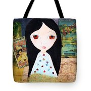 Traveling Little Girl Tote Bag