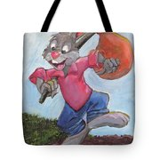 Traveling Rabbit Tote Bag by Terry Lewey