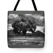 Tree And Barn 1 Bw Tote Bag