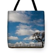 Tree And Fence On A Landscape, Santa Tote Bag