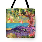 Tree And Flowers By The Water Tote Bag