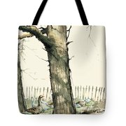 Tree And Geese Tote Bag
