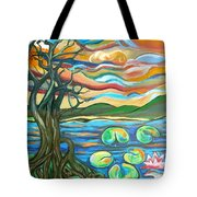 Tree And Lilies At Sunrise Tote Bag