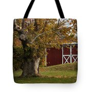 Tree And Red Barn Tote Bag