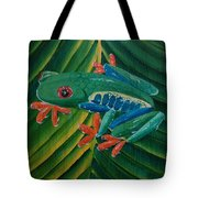Tree Frog Koi Tote Bag