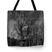 Tree House In Black And White Tote Bag