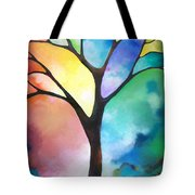 Original Art Abstract Art Acrylic Painting Tree Of Light By Sally Trace Fine Art Tote Bag