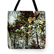 Tree Reflected In Leaves Tote Bag