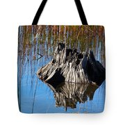 Tree Stump And Reeds Tote Bag