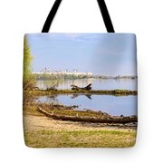 Tree Trunk By The River Tote Bag
