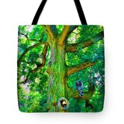 Tree With Owl Gnome And Mushroom Tote Bag