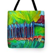 Trees And Meadow Tote Bag