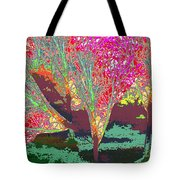 Trees Around Faal Season  Digitally Painted Photograph Taken Around Poconos  Welcome To The Pocono M Tote Bag