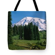 Trees In A Forest, Mt Rainier National Tote Bag