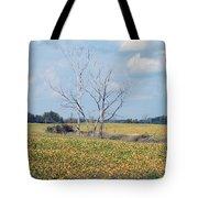 Trees In Field Tote Bag