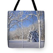 Trees In Snow  Wisconsin Tote Bag by Anonymous