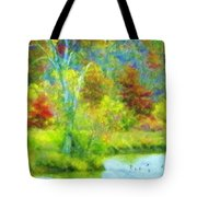 Trees In Spring On A Lake Tote Bag