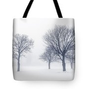 Trees In Winter Fog Tote Bag