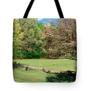 Trees On A Field, Davidson River Tote Bag