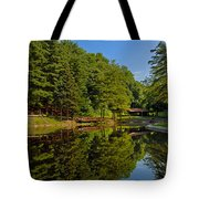 Trees Reflected On Mirrored Lake  Tote Bag