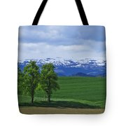 Trees With Mountains Tote Bag