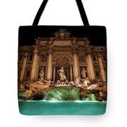 Trevi Fountain Illuminated At Nighttime Tote Bag