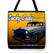 Tri-5 Chevy Rat Rod Lucky Lady Tote Bag