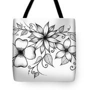 Tri-floral Sketch Tote Bag