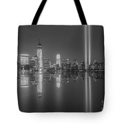 Tribute In Light Reflections Bw Tote Bag