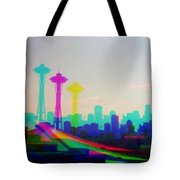 Tricolor Seattle Space Needle Tote Bag