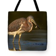 Tricolored Heron With Fish Tote Bag