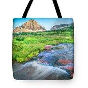 Triple Falls Stream Glacier National Park Tote Bag
