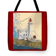 Triple Islands Lighthouse Bc Canada Chart Art Tote Bag
